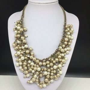 NEW Ann Taylor Loft Faux Pearl Rhinestone Necklace